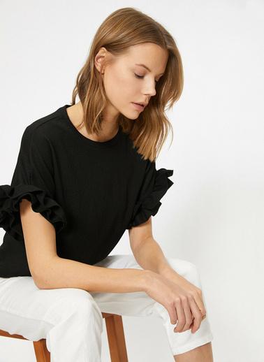 Koton Firfir Detayli T-Shirt Siyah